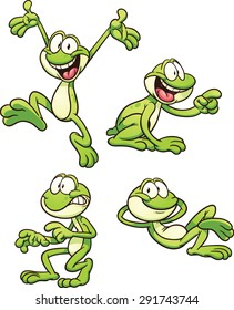 Cartoon frog in different poses. Vector clip art illustration with simple gradients. Each on a separate layer.