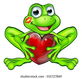 Cartoon frog fairy tale mascot character holding a heart shape with a lipstick kiss mark on his face