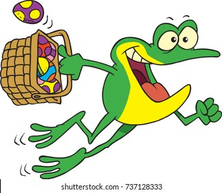 cartoon frog happily jumping with an easter basket full of eggs