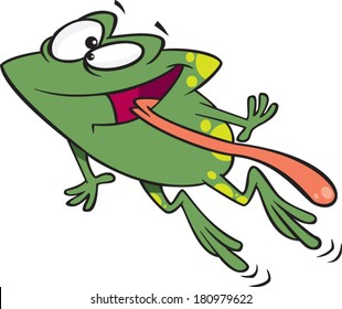 cartoon frog jumping