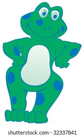 Cartoon frog leaning. 2 spot colors.