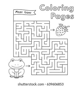 Cartoon frog maze game. Vector coloring book pages for children