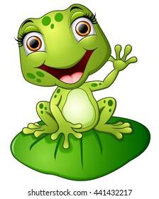Cartoon frog sitting on the leaf