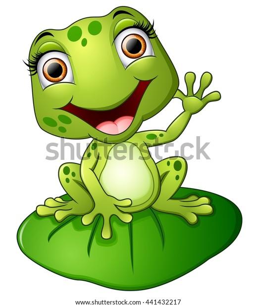Cartoon Frog Sitting On Leaf Stock Vector Royalty Free 441432217
