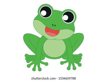 Cartoon Frog who sings. Vector Illustration of Green Frog