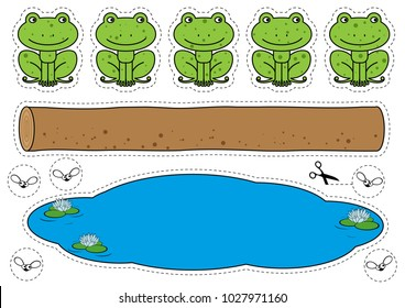 Cartoon frogs, log, pool and bugs cutting shapes. Five little speckled frogs game for children education. Vector print ready A4 page