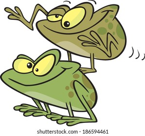 cartoon frogs playing leap frog