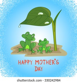 Cartoon frogs under the leaf. Vector illustration. Mother`s day card template.