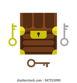Cartoon front isometric chest and keys for retro game. The vector illustration for ui, web games, tablets, wallpapers, and patterns.