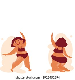 Cartoon  of front view and back side of 2 Fat girl Standing and sitting. Character Chubby Girl in relaxing styles . Overweight Female body template.Vector illustration flat design idea for healthcare