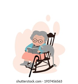 Cartoon front view of cute grandmother sitting on rocking chair ,reading a book   with grey cat. old fat woman in colorful clothes with magic cane and glasses. Vector illustration isolate flat design
