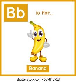 Cartoon Fruit Alphabet Flashcard. B is for Banana
