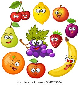Cartoon fruit characters. Fruit emoticons. Grape, orange, apple, lemon, strawberry, peach, banana, plum, cherry, pear