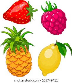Cartoon fruit set, include lemon, strawberry, raspberry and pineapple