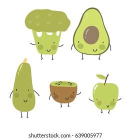 Cartoon fruit and vegetables.  Broccoli, avocado, zucchini, kiwi, apple