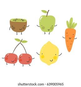 Cartoon fruit and vegetables. Kiwi, apple, carrot, cherry, lemon