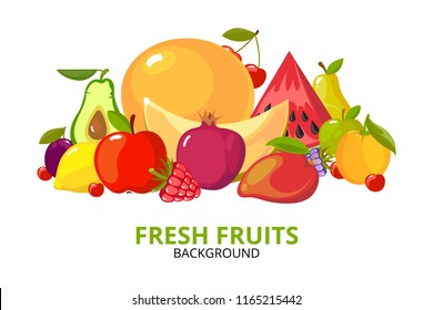 cartoon fruits background. colorful fresh healthy organic vitamin food apples oranges berries tropical fruta vector illustrations