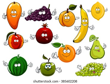 Cartoon fruits with banana and orange, apple and mango, pear and lemon, peach, green and violet grape, watermelon and apricot, pomegranate. Agriculture, dessert food or nutrition themes
