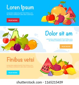 cartoon fruits banners. colorful fresh healthy organic vitamin food apples oranges berries tropical vector illustrations