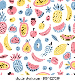 Cartoon Fruits and Berries Vector Seamless Pattern. Colorful Fruit Wallpaper. Healthy Summer Food Background