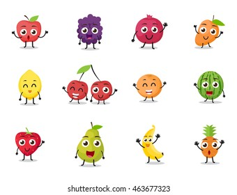 cartoon fruits characters with different poses
