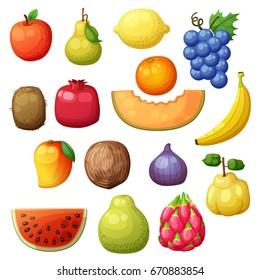 Cartoon fruits icons set isolated on white background. Vector illustration of apple, pear, lemon, grape, orange, kiwi, pomegranate, melon, banana, mango, fig