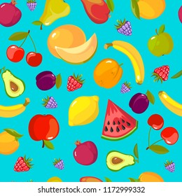 cartoon fruits pattern. colorful seamless background with fresh healthy organic vitamin food vector pictures