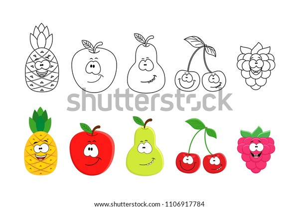 Cartoon Fruits Set Coloring Book Pages Stock Vector Royalty