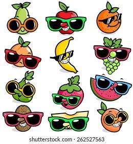 Cartoon fruits with sunglasses. Vector illustration