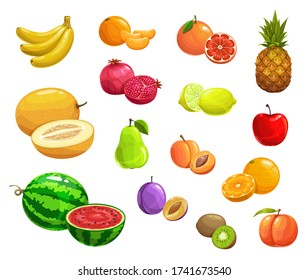 Cartoon fruits vector pineapple, peach and banana, pomegranate and pear. Watermelon, melon, kiwi and lime, lemon, apricot and orange, apple with grapefruit and prune. Natural ripe fresh fruits icons