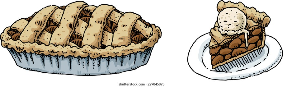 A cartoon of a full apple pie and a slice on a plate with ice cream.