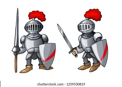 Cartoon Full body armor suit, European like medieval knight character with shield and sword, isolated on white background. Colorful book page design for kids and children sticker vector illustration
