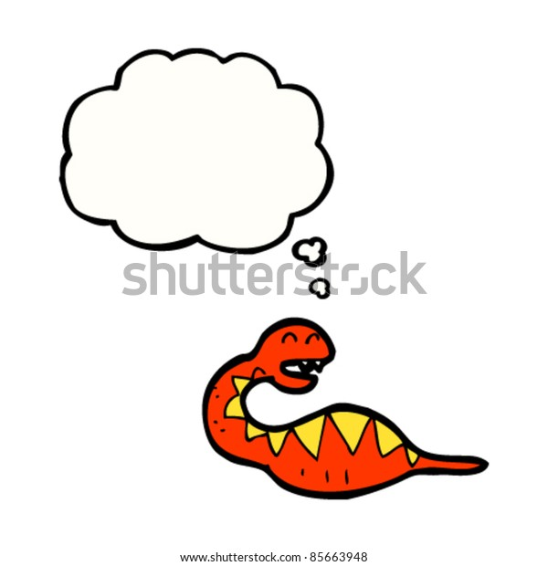 cartoon full snake with thought bubble
