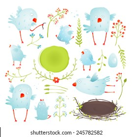 Cartoon Fun and Cute Baby Birds Collection. Brightly Colored watercolor style birdies collection. Vector illustration EPS10.