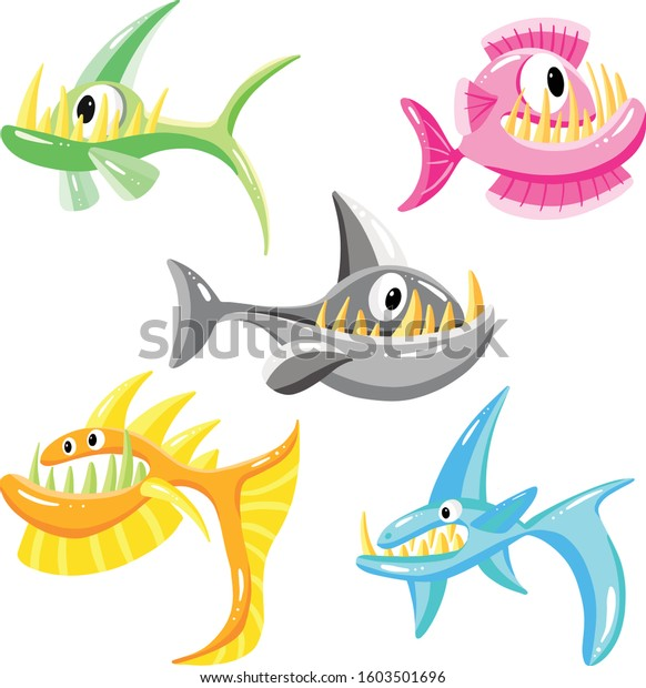 Cartoon Fun Fish Shark Underwater Vector Illustration