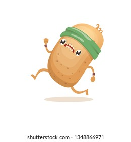 Cartoon funky potato character running or jogging isolated on white background. Cute sporty vegetable character making cardio sport exercise. Fitness cardio concept