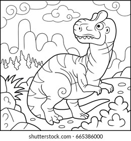 Cartoon funny allosaurus, coloring book