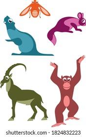 Cartoon funny animals illustration. Cartoon funny animals isolated on white set for design
