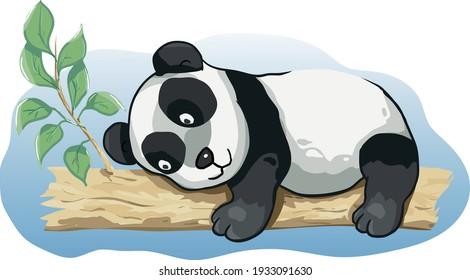 Cartoon funny animated panda happy sleeping on the tree