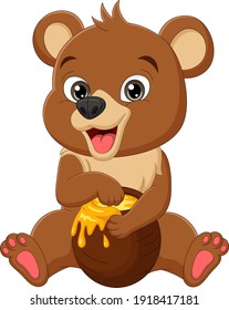 Cartoon funny baby bear sitting and eating sweet honey from the pot