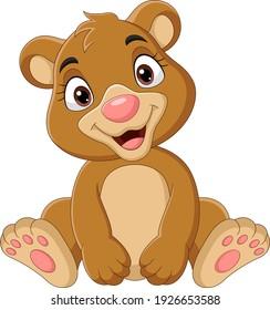 Cartoon funny baby bear sitting