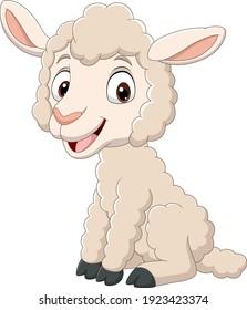Cartoon funny baby lamb sitting