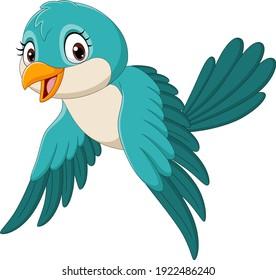 Cartoon funny bird flying isolated on white background