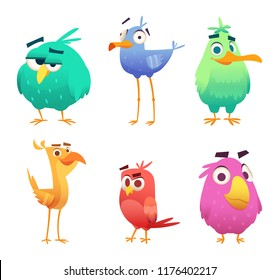 Cartoon funny birds. Faces of cute animals colored baby eagles happy birds. Vector clipart characters isolated. Animal bird happy, character funny different illustration