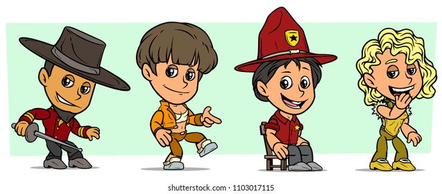 Cartoon funny boy and girl characters. Vol. 2. Toreador and Ranger. Dancer and Singer. Vector icons set.