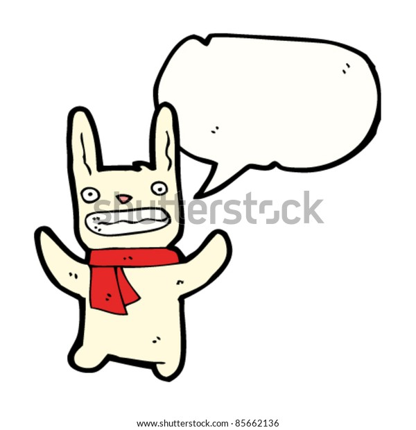 cartoon funny bunny rabbit with scarf and speech bubble