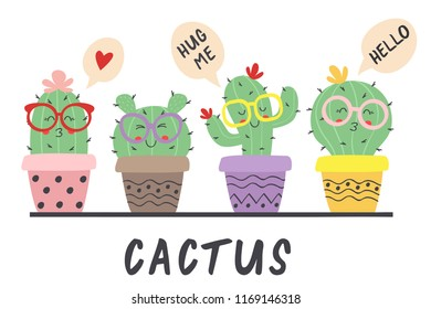 cartoon funny cactus in glasses - vector illustration, eps