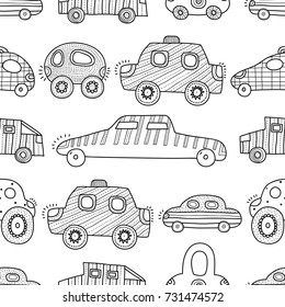Cartoon funny cars. Seamless pattern. Line background.