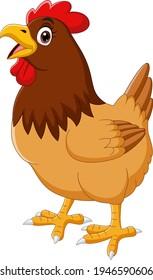 Cartoon funny chicken hen crowing