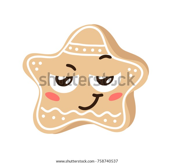 Cartoon Funny Christmas Cookies Isolated On Stock Vector Royalty